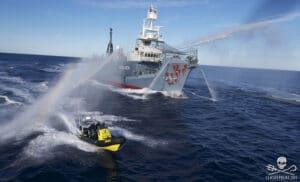 Sea shepherd volunteers under attack by whaling vessel