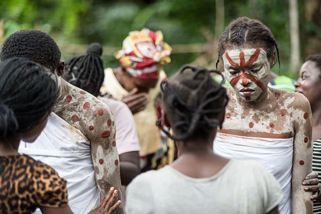 Woman preparing for iboga ceremony