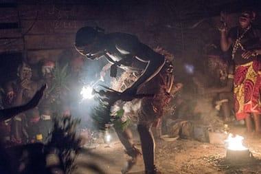 Bwiti member dances during iboga ceremony