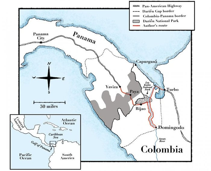 Map of The Colombia and Panama
