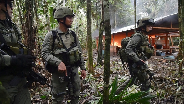 Colombian Military patrolling