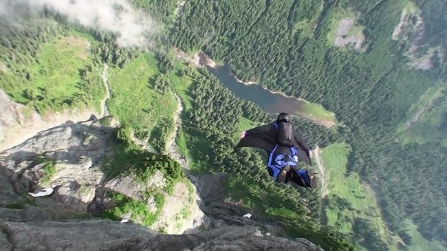 Wingsuiting through mountains