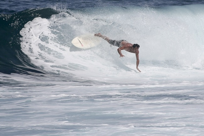 A surfer wiping out