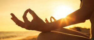 Vipassana meditation at sunset