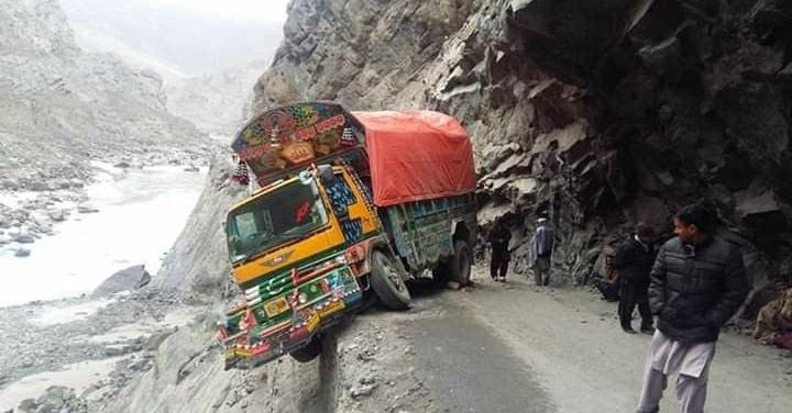 Truck overhanging the Karakoram Highway