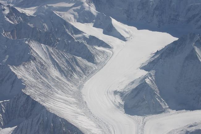 snow road through the Karakoram Highway