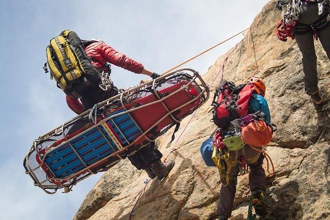 Climber rescuing climbers