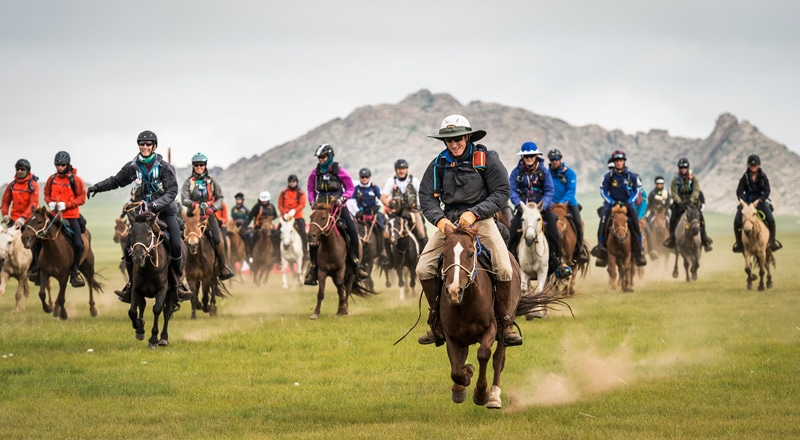 Racers in the Mongol Derby